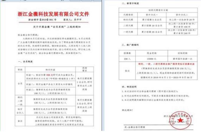 """浙江金薇科技发展有限公司因""""利用互联网传销""""被罚没1142万多元"""