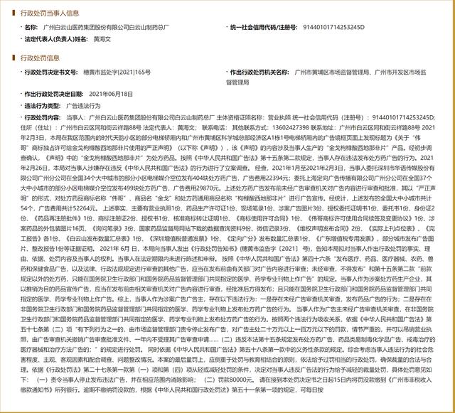 广州白云山医药集团股份公司白云山制药总厂因发布违法广告被罚